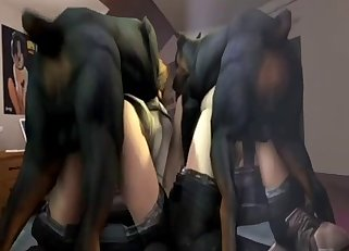Two 3D dobermans fuck with hot ladies